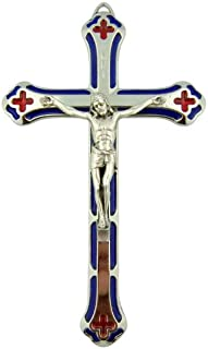 Silver Tone Crucifix 5 1/4 Inch Hanging Wall Cross with Red Stained Glass Effect