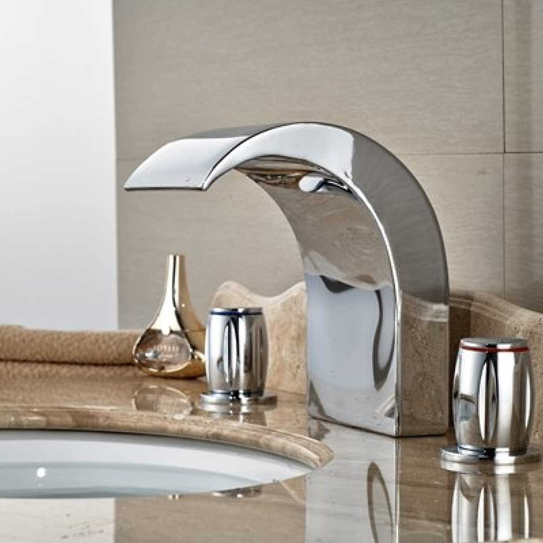 Retro Deluxe Fauceting Gro- und Einzelhandel mit poliertem Chrom Badezimmer Waschbecken Wasserhahn Deck montiert Tub Faucet 3 Lcher Waschbecken Mischbatterie, Chrome 8.