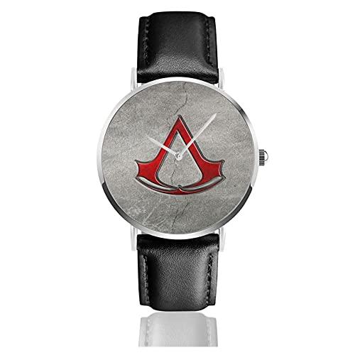 Assassin'S Creed Ezio Auditore Relojes Reloj de Cuero de Cuarzo con Correa de Cuero Negro para Hombre, Mujer, colección Joven, Casual de Negocios
