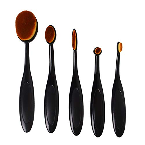 TECKE 5 Pcs Oval Makeup Brush Set Toothbrush Foundation Cream Concealer Cosmetics Tool
