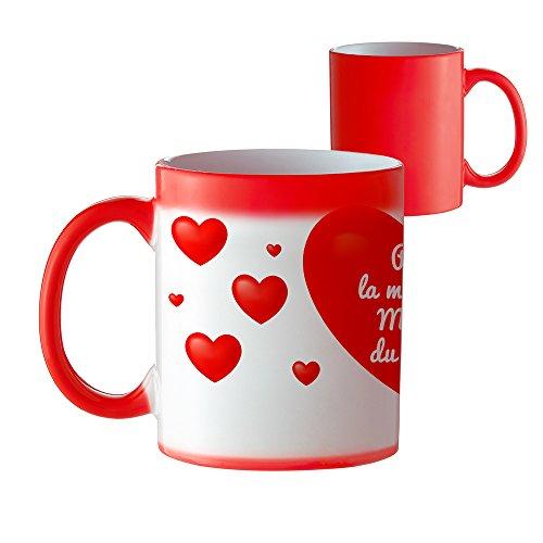 Tasse à café et thé Magique - Coeur Qui Change de Couleur avec Inscription - pour la Meilleure Maman du Monde - Mug avec Effet Thermique - Idée Cadeau pour Maman - Fête des Mères - Décoration