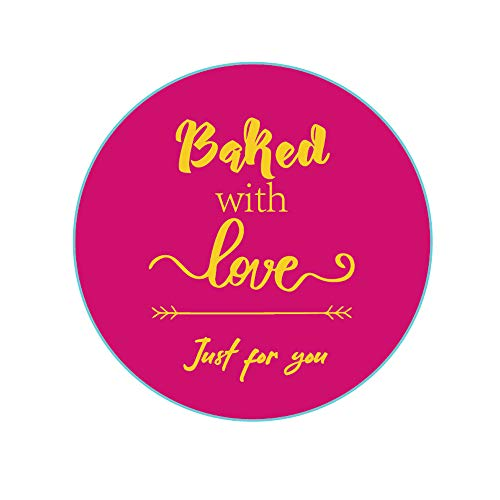 YOUOK Thank You Backed with Love Stickers,2 Inch Pink Waterproof Just for You Lables for Cookie Cupcake,Backed Goods Packaging and Wrapping,Homemade Bakery Bread Bags(500pcs/roll)