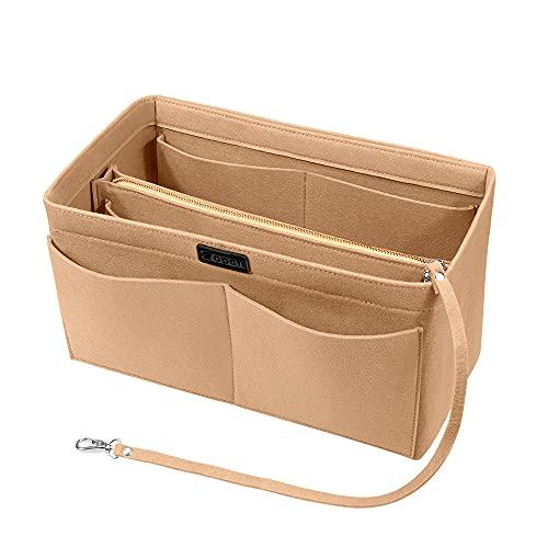 Ropch Handtaschen Organizer, Filz Taschenorganizer Bag in Bag Innentaschen Handtaschenordner mit Abnehmbare Reißverschluss-Tasche und Schlüsselkette, Beige - L