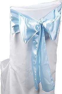 VDS - 10 PCS Elegant Satin Chair Bow Sashes Bows for Wedding Party Banquet Decor - Ribbon Tie Back sash – Baby Blue