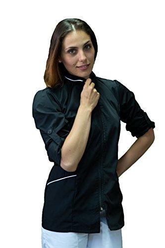 tessile astorino Bordado gratuito – Chaqueta de mujer de trabajo – Casaca para centro sanitario, peluquería, esteticista, hotel, fabricado en Italia Negro XXL