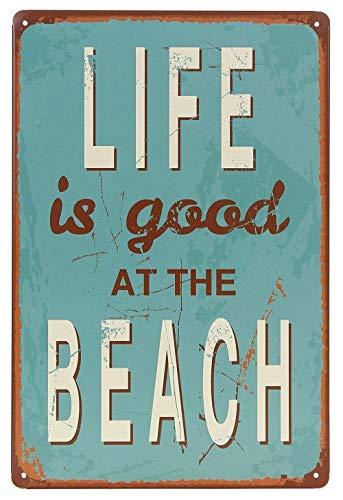 Vvision Life is Good at Beach El Arte Pintura de Hierro Cartel de Pared de Chapa Placa de Metal Cartel de decoración de Pared para el hogar Garaje Tienda Bar