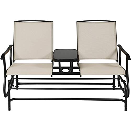 Homeura 2-Person Outdoor Patio Double Rocking Loveseat Patio Chairs -Black
