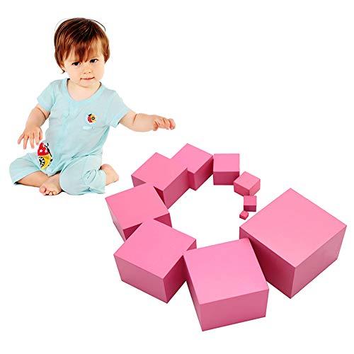 AchidistviQ Montessori - Cubo de madera para niños, diseño de torre rosa, ideal para enseñar a los niños