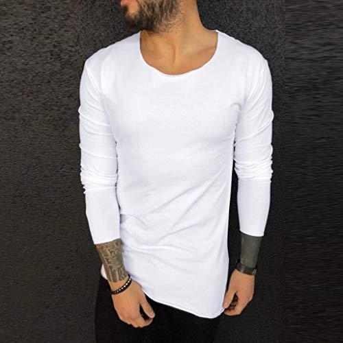 serliy Herren Longsleeve Rundhals Ausschnitt Langarm Shirt Einfarbig Slimfit mit Basic Round-Neck Tee Sweatshirt in vielen Farben Vegan