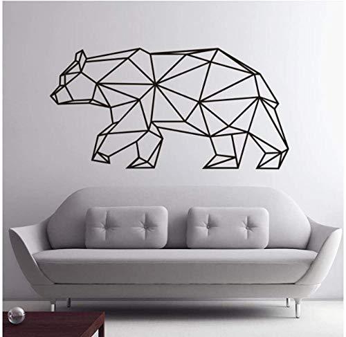Origami oso geométrico etiqueta de la pared decoración del hogar vinilo calcomanía de pared animal mural extraíble para sala de estar 80X40Cm