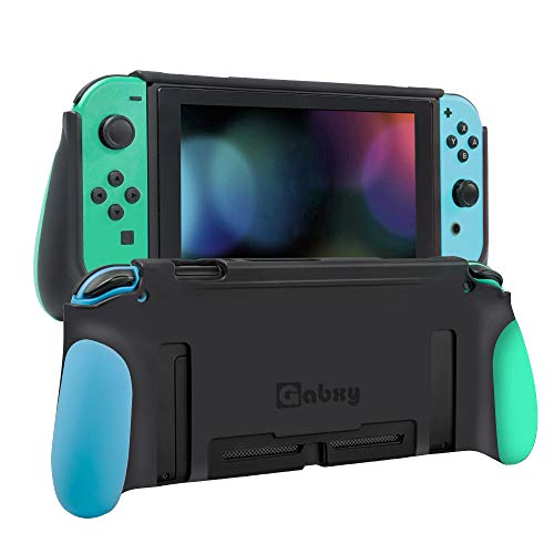 Protective Case Compatible with Switch,Dockable Cover Case Compatible with Switch,Grip Cover in Silicone with Anti-Scratch and Shock-Absorption Soft TPU(Green and Blue)