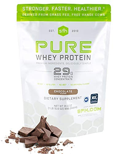 SFH Pure Whey Protein Powder (Chocolate) by SFH   Best Tasting 100% Grass Fed Whey   All Natural   100% Non-GMO, No Artificials, Soy Free, Gluten Free   896g (Chocolate, 31.6 Ounce (Pack of 1))