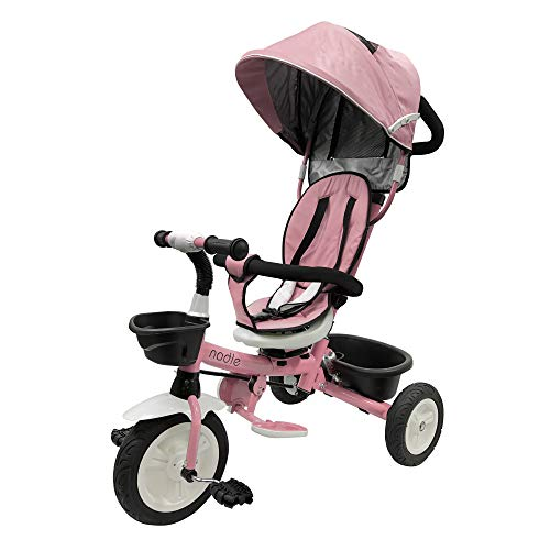 Nadle Pink Steer and Stroll Kids Trike for 2 Years Old 4 in 1 Up to 55Lb, 10-inch Wheels