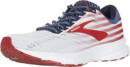 Brooks Women's Launch 6 Running Shoes, White/Blue/Red, 8 B(M) US