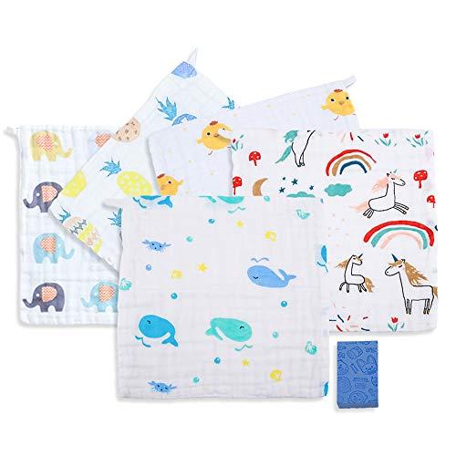 Toalla facial unisex para bebé, 5 piezas, algodón, muselina natural, ropa para lavar, suave absorbente, recién nacido, impresión, baberos, 30x30 cm + 1 cojín de esponja de baño para bebés