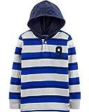 Osh Kosh Boys' Little Hooded Rugby Top, Grey/Blue Stripe, 6