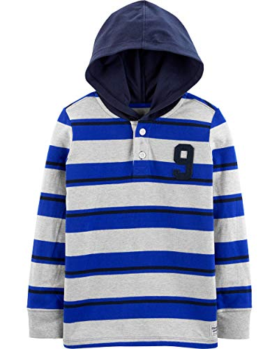 OshKosh B'Gosh - Playera de Rugby con Capucha para niño, Gris/Azul (Grey/Blue Stripe), 8