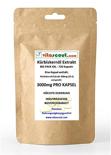 720 Kapseln Kürbiskernöl Samen Extrakt entspricht 3000mg PRO KAPSEL - HÖCHSTE DOSIERUNG - SEHR GUTE BIOVERFÜGBARKEIT