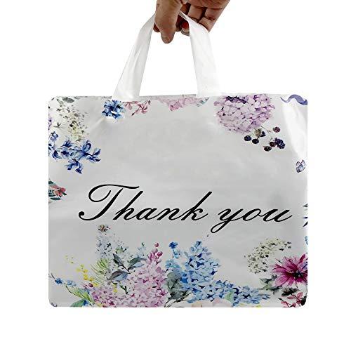 SES.CO 12x16 alça de plástico cortada obrigado bolsa de compras floral, rosa, 100 unidades (flor com alça de laço macia)
