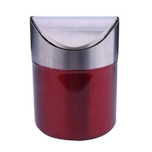 Sundarling Stainless Steel Mini Countertop Trash Bin 1.5L Car Dust Bin Swing Lid Kitchen Worktop Trash can (Red)