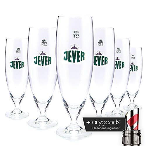 6 x Jever 0,25l Glas/Gläser, Pokalglas, Markenglas, Bierglas NEU + anygoods Flaschenausgiesser