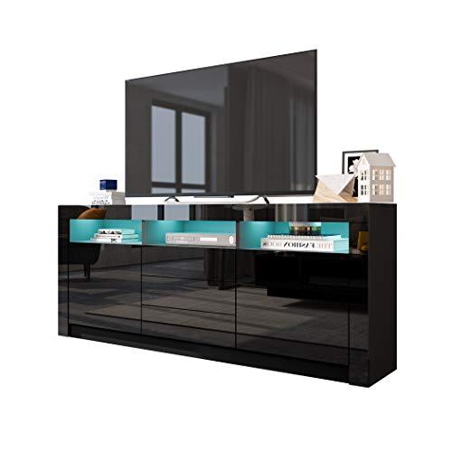 UNDRANDED 160cm TV Board Sideboard 2 Türen 3 Schubladen Fernsehschrank Hochglanz mit LED Beleuchtung (Schwarz)