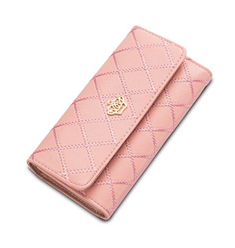 DNFC Geldbörse Damen Portemonnaie Lang Portmonee Schicke Handtasche PU Leder Geldtasche mit Vielen Kartenfächern Geldbeutel für Frauen (Pink)