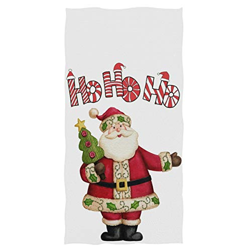"Wamika Christmas Santa Claus Hand Towels Winter Ho Xmas Tree Face Towel Soft Thin Guest Towel Portable Kitchen Tea Towels Washcloths Bath Decorations Housewarming Gifts 16"" X 30"""
