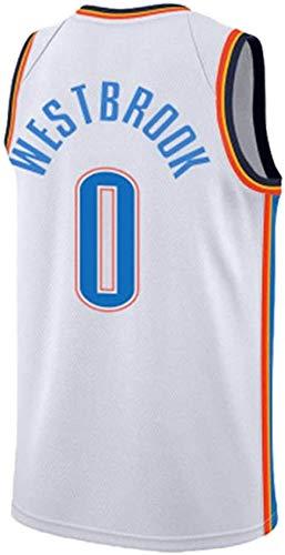 JAG Maglia da Basket Russell Westbrook 0# da Uomo, Tuta da Tennis NBA Uniforme Thunder Oklahoma City, Smanicato Unisex Senza Maniche, XS - XXL