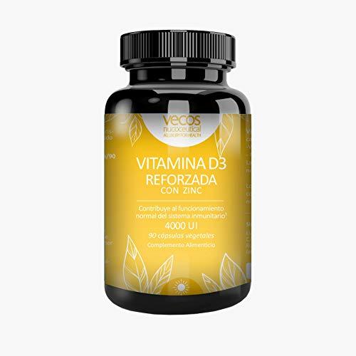 Vitamina D Vecos para el mantenimiento de huesos y la mejor absorción de calcio y fósforo – Vit D (colecalciferol) con zinc para reforzar nuestro sistema inmunológico – cápsulas vegetales