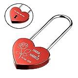 polar-effekt Herz Liebesschloss ROT mit 2 Seitige Gravur - Personalisiertes Schloss - Geschenk für verliebte zum Valentinstag - Motiv eine Rose der Liebe