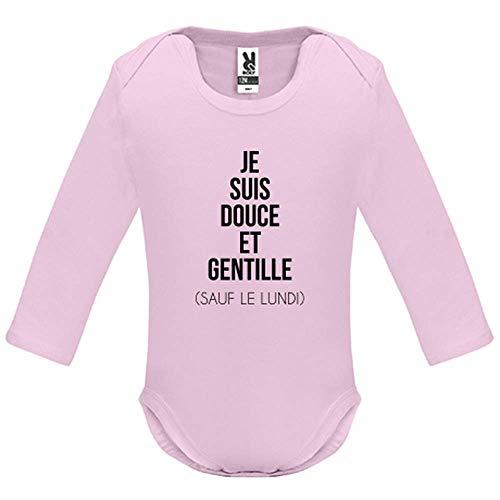 Body bébé - Manche Longue - Je suis Douce et Rebelle - Bébé Fille - Rose - 18MOIS