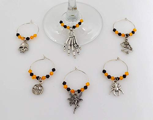 Halloween Wine Glass Charms with Orange and Black Beads - 6 Piece Cocktail Drink Charm Set in Black Velour Gift Pouch Orange (WGC 48J)