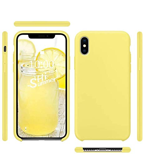 Funda de Silicona Silicone Case para iPhone XS MAX, Tacto Sedoso Suave, Carcasa Anti Golpes, Bumper, Forro de Microfibra (Amarillo Limón)