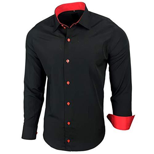 Baxboy Herren-Hemd Slim-Fit Bügelleicht Für Anzug, Business, Hochzeit, Freizeit - Langarm Hemden für Männer Langarmhemd R-44, Größe:M, Farbe:Schwarz/Rot