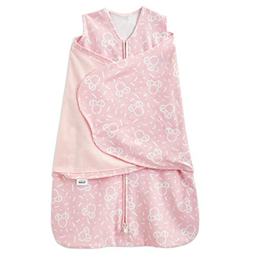 Halo Disney 100% Cotton Muslin Sleepsack Swaddle, 3-Way Adjustable Wearable Blanket, Confetti Minnie Pink, Newborn, 0-3 Months