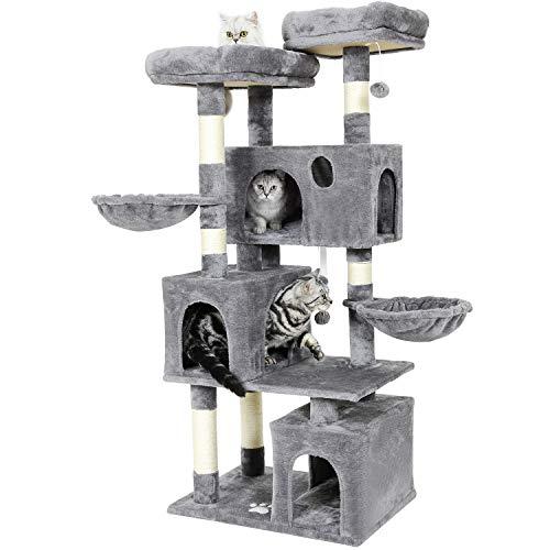 MSmask Tiragraffi per gatti di grandi dimensioni, con 2 piattaforme e 3 cucce per gatti, stabile albero da arrampicata (grigio chiaro)