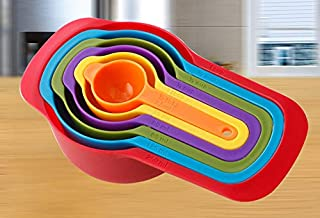 6 Pcs Of Plastic Measuring Cups And Spoons Set. Stackable, Space Saving, Multi Color Design.