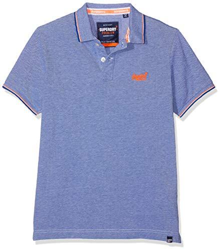 Superdry Herren Classic Poolside Pique Polo Poloshirt, Mehrfarbig (Cobalt/White J37), Medium