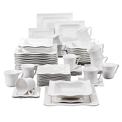 MALACASA, Serie Mario, 60 TLG. Cremeweiß Porzellan Geschirrset Kombiservice Tafelservice mit je 12 Kaffeetassen, 12 Untertassen, 12 Dessertteller, 12 Suppenteller und 12 Speiseteller