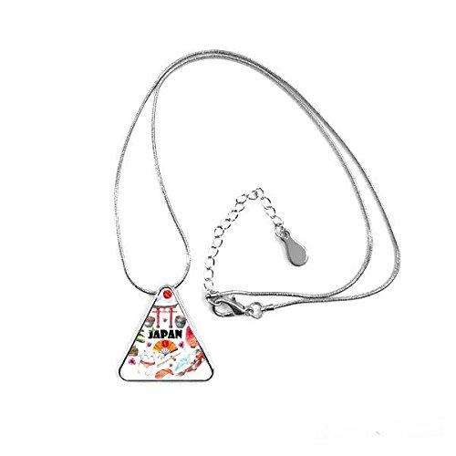 DIYthinker Japan Kultur Nette japanische Art Aquarell Nationalflagge Lucky Cat Sakura Sushi Stäbchen Karpfen Torbogen Laterne Illustration Dreieck-Form Halskette Schmuck mit Kette Dekoration