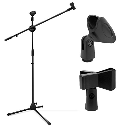 Microphone Stand, Ohuhu Tripod Mic Stand Boom with Mic Clips, Height Adjustable, Light Weight, Black