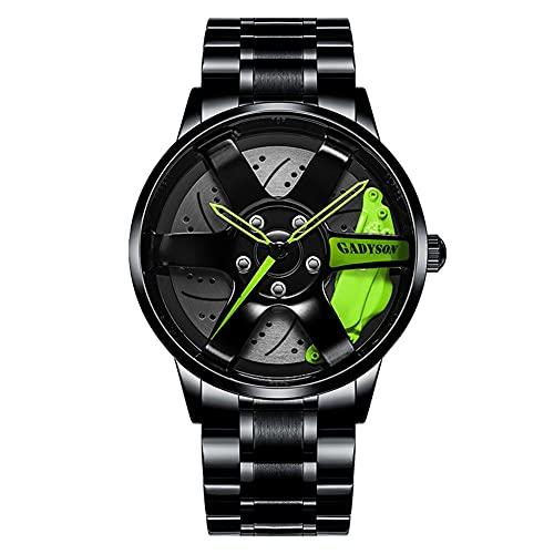 STST Relojes para Hombre, Rueda de Coche Deportivo, buje de llanta, Movimiento de Cuarzo japonés, Reloj de Pulsera, Reloj Impermeable con Correa de Acero Inoxidable,Verde