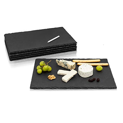 Amazy Platos de Pizarra Negra (6 piezas.) con Tiza para Escribir - Pizarra perfecta como plato aperitivo que ofrece un diseño perfecto para servir comida (30 x 20 cm)