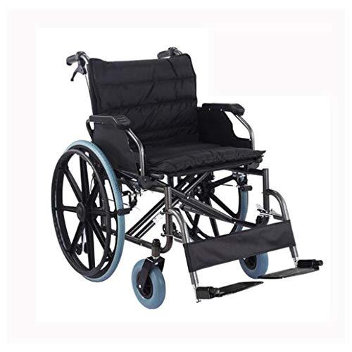 ZZR rolstoel voor volwassenen - inklapbare armleuning 330 LB / 150 kg draagkracht dubbele rem 56 cm zitting, staal lichte medische rolstoel