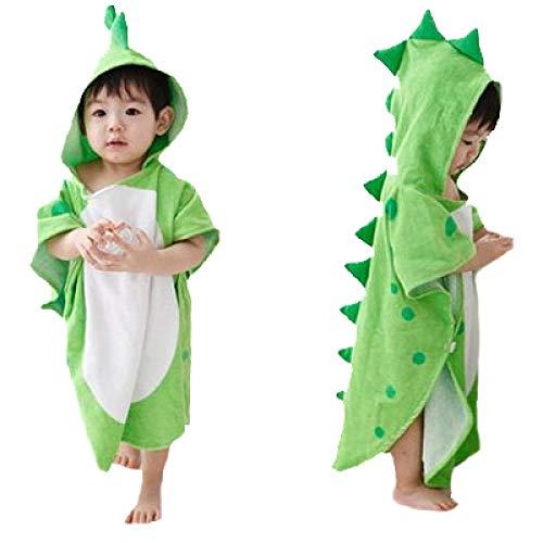 MHDE Bébé Serviette à Capuchon Garçon Fille Ponchos De Dinosaure Enfants Serviette De Bain Enfant Peignoir Pyjama,Green-115 * 60