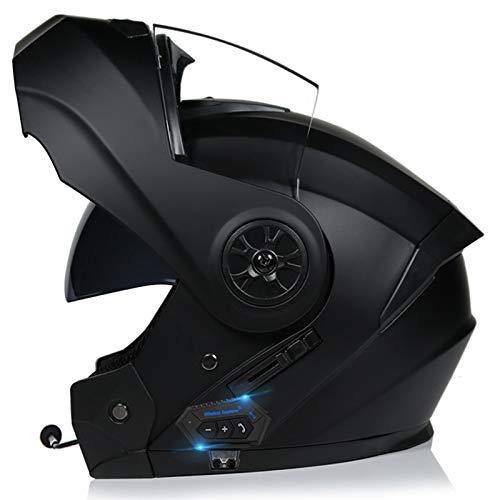 Bluetooth Integrado Casco De Moto Modular Con Doble Visera Cascos De Motocicleta ECE Homologado A Prueba De Viento Para Adultos Hombres Mujeres A,S=55-56CM