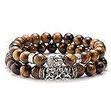 XKMY Juego de 2 pulseras de cuentas con piedra de lava negra, cuentas de Buda para hombres, pulseras de cuentas para mujeres y hombres al por mayor (color metálico: marrón)