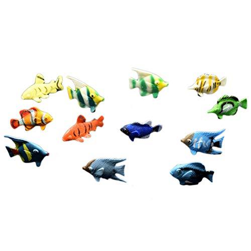 Egosy 12 stücke Mini Tropischen Ozean Fisch Pet Figuren Spielzeug PVC Pool Fisch Spielzeug Früherziehung Mini Marine Fisch Spielzeug
