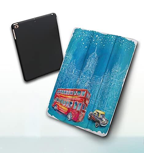 Funda para iPad 9,7 Pulgadas, 2018/2017 Modelo, 6ª / 5ª generación,Moderno autobús Rojo y Coche Antes de la Arquitectura Medieval de Mumbai Acuarela Smart Leather Stand Cover with Auto Wake/Sleep